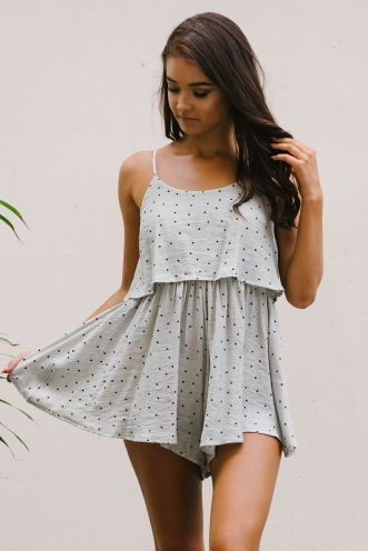 Tell me printed playsuit - Light khaki spot