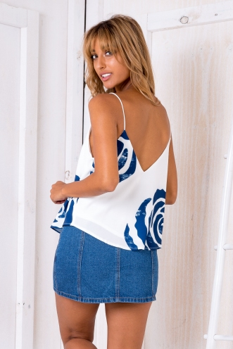 Naomi swing top - White/Navy print