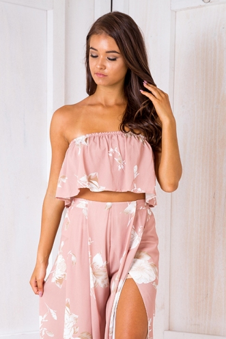 Sugar plum crop top - Beige print