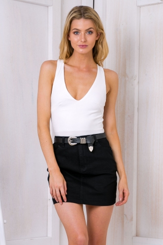 The standard denim mini skirt - Black Denim