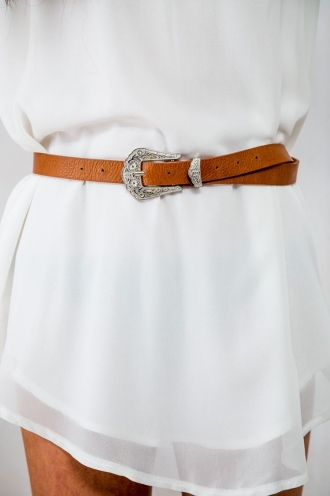 Orange Sherbet Womens Low Waisted Belt - Tan