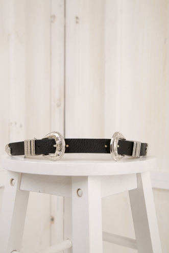 Abby buckle belt - Black