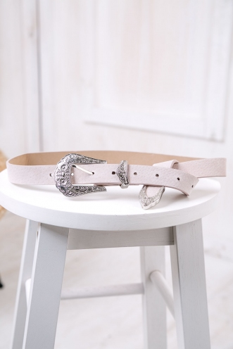 Sally belt - Beige/Silver
