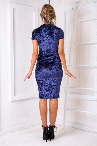 Between The Lines Dress - Blue Velvet Crush