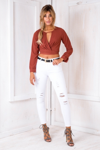 Misty Wrap Top - Burnt Orange