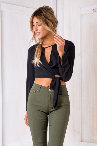 Misty Wrap Top - Black
