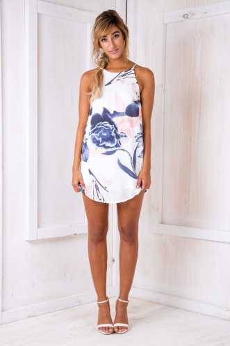 Airlie Floral Dress - White/Navy