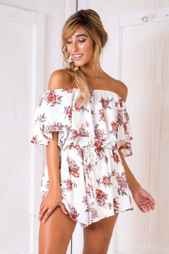 Lucienne Playsuit - Floral/Cream