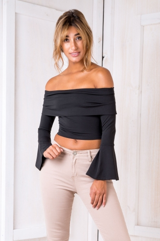 Delta flare crop top- Black