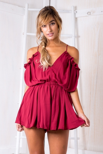 Sabine Playsuit - Maroon Red