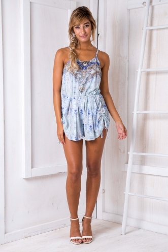 Princess of the Sea Playsuit - Blue/Purple Print