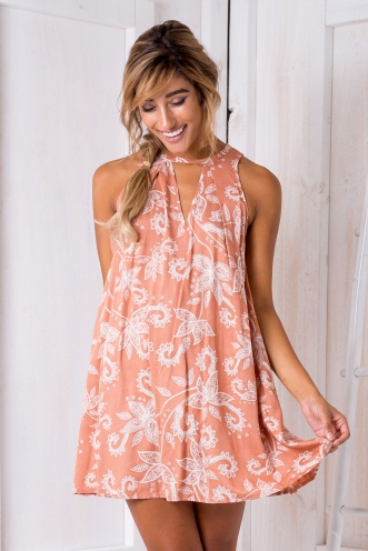 Botanical Shift Dress - Butterscotch