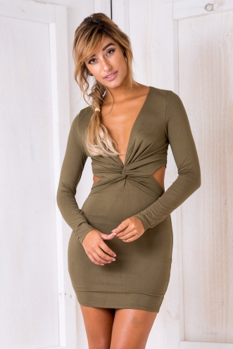 Caramel Date Tart Womens Bodycon Long Sleeve Dress-Khaki