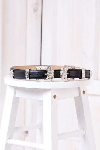 Rozi Double Buckle Belt - Silver