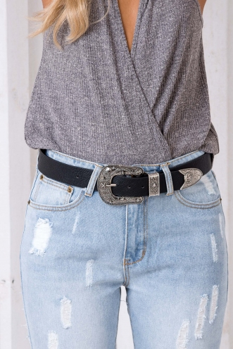 Haylee Large Buckle Belt - Silver