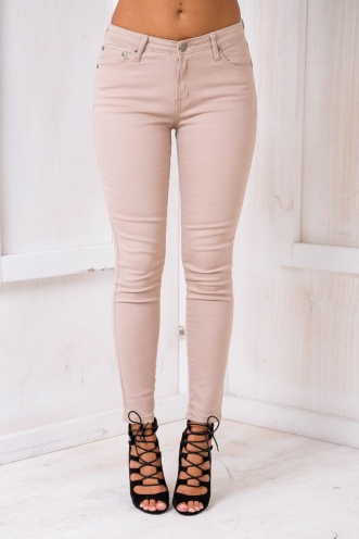 Peta High Waisted Jeans - Beige