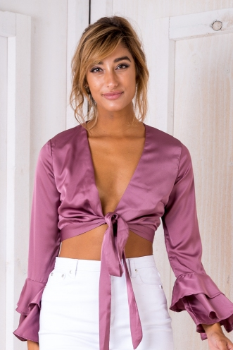 Satin Lovers Crop Top - Purple