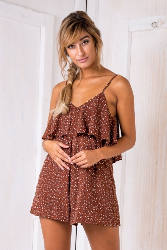 Andrea Playsuit - Brown Floral Print