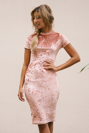 Between The Lines Dress - Pink Velvet Crush