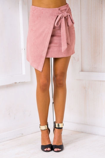 Suzy Wrap Skirt - Pink Suede