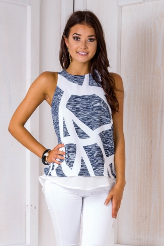 Chantelle layered top - blue/ white