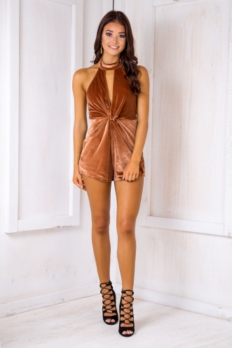 Ava playsuit - Brown Velvet