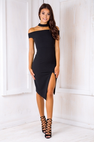 Ivana Off The Shoulder Dress - Black
