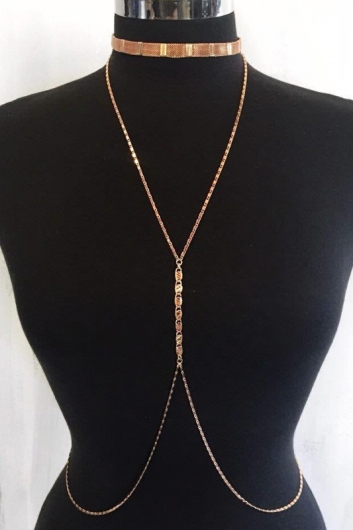 Crisscross body chain- Rose Gold