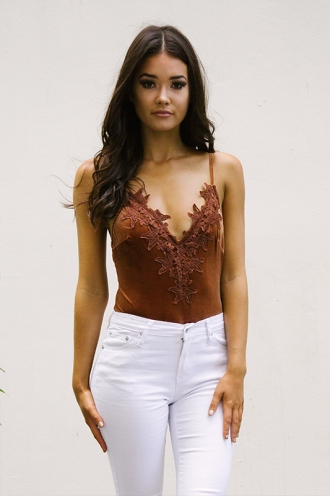 Lillian Bodysuit - Brown Velvet