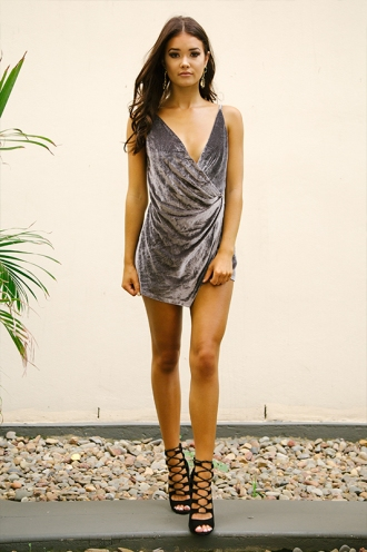 Frankie Playsuit - Grey Velvet