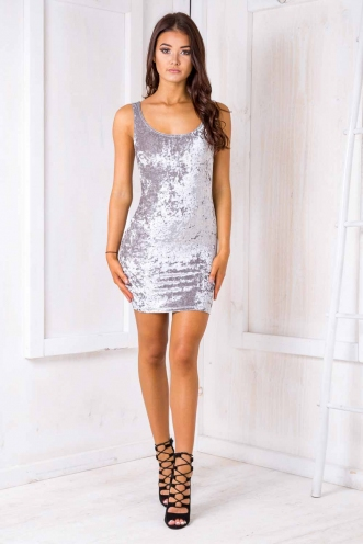 Sabina dress - Grey velvet