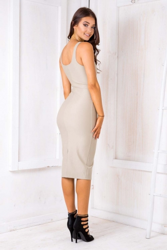 Leonie firm dress - Light Khaki