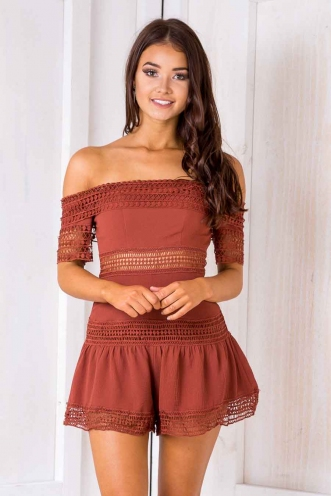 Trinity playsuit - Brown-SALE