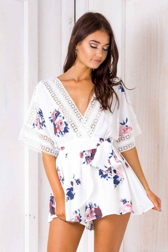 Eva playsuit - White Floral