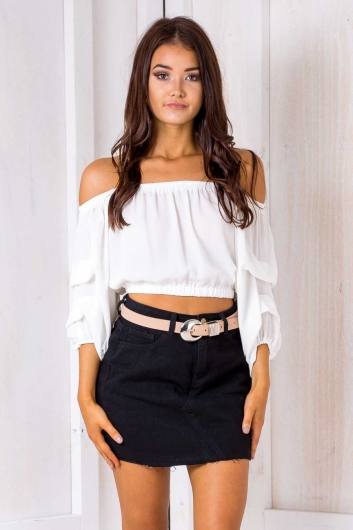 Olive crop top - White