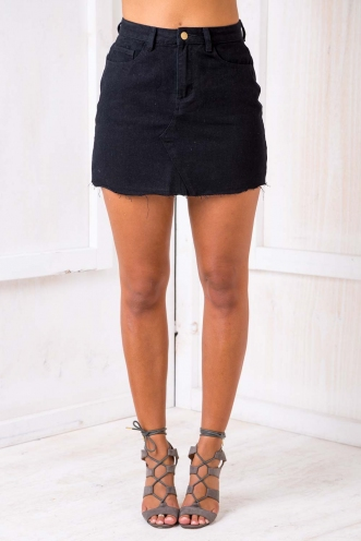 Casey Denim Skirt - Black