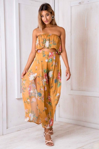 Sugar plum crop top - Mustard floral