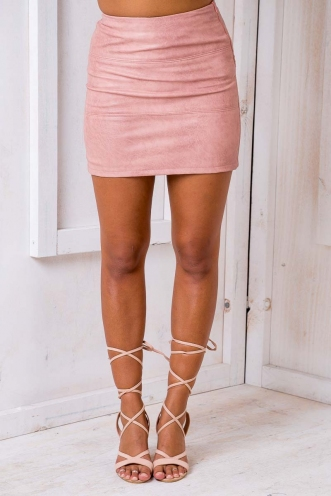 Leatherette Panel Mini Skirt - Pink