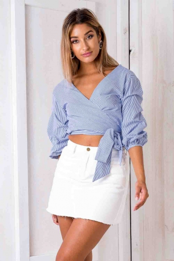 Casey Denim Skirt - White