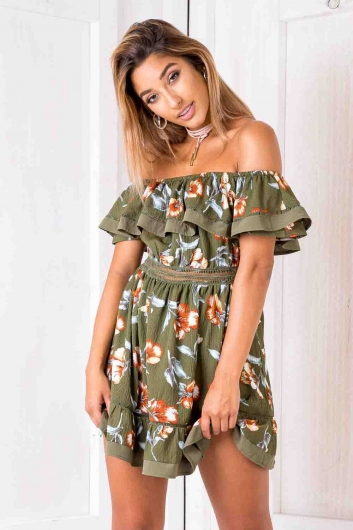 Holly dress - Green vintage floral