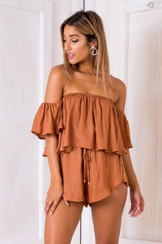 Maricell playsuit - Burnt orange