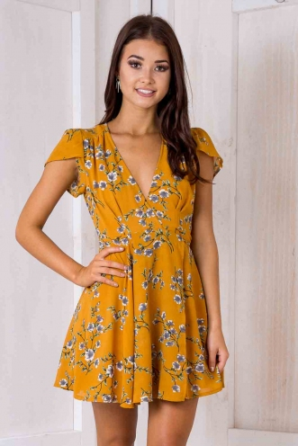 Milly wrap dress - Mustard floral