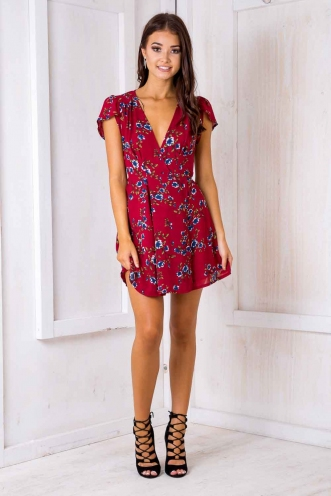 Milly wrap dress - Maroon floral
