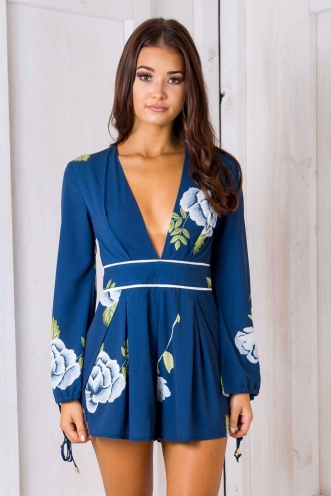 Brianna playsuit - Blue floral