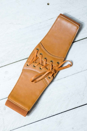 Lace em up thin belt - Brown