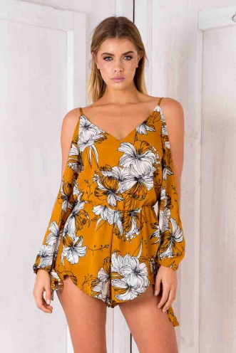 Zara playsuit - Tan floral