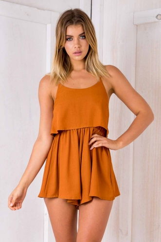 Tell me playsuit - Burnt orange