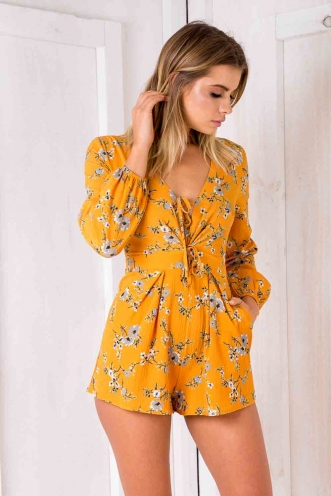 Juliet playsuit - Mustard floral