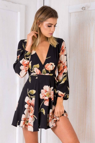 Clarissa Wrap Dress - Black Floral