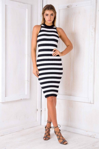 Buttercup Slice Womens Ribbed Dress - Black/Cream Stripe